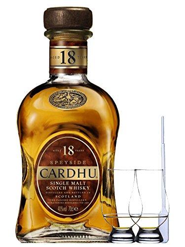 Cardhu 18 Jahre Single Malt Whisky 0,7 Liter + 2 Glencairn Gläser + Einwegpipette 1 Stück