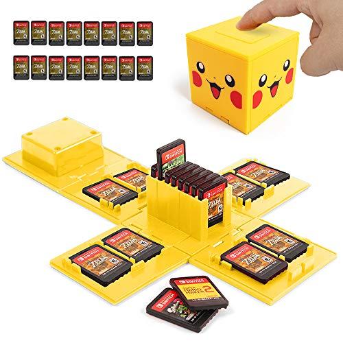 Nintendo Switch - Custodia per carte di gioco, supporto per Nintendo Switch Games con 16 slot (Pikachu Giallo)