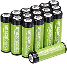 AmazonBasics AA Rechargeable Batteries (2000 mAh), Pre-charged - Pack of 16 (Appearance may vary)