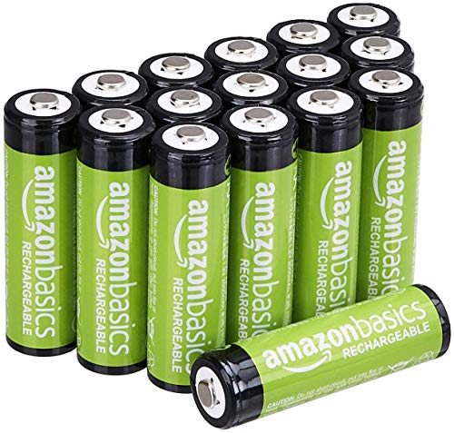 AmazonBasics AA Rechargeable Batteries, Pre-charged - Pack of 16 (Appearance may vary)