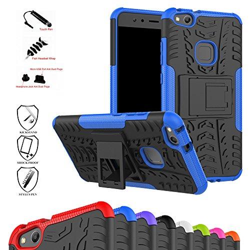 MAMA MOUTH Huawei P10 Lite Hülle, [Heavy Duty] Rugged Armor stoßfest Handy Schutzhülle Silikon Tasche Ständer Hülle Case mit Standfunktion für Huawei P10 Lite Smartphone,Blau