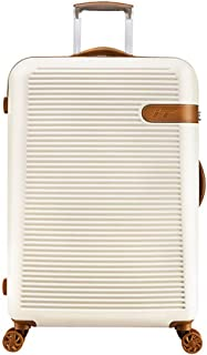 Durable & Lightweight Hard Shell Suitcase,4 Wheel Spinner,White,19inch