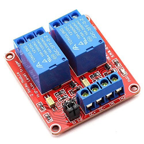 DZS Elec 12V 2 Channel High/Low Level Trigger with Optical Isolation Relay Module Fault Tolerant Design Load AC 0-250V/10A DC 0-30V/10A Circuit Switch Board