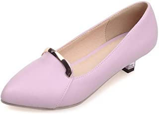 VogueZone009 Women's Solid PU Low-Heels Pull-On Pumps-Shoes, CCADP010929