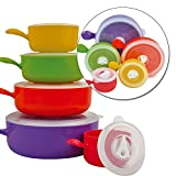 Taylor & Brown® 10pc Coloured Microwave Food Cooking Bowls Set With Lids Pot Pan Containers