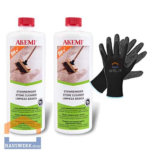 Hauswerk.shop Akemi Steinreiniger 2 x 1 Liter + Arbeitshandschuhe