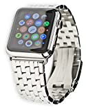 Debeer Replacement Watch Band - Navitimer Style Metal Watch Strap Compatible with Apple 42mm & 44mm Series 1, 2, 3, 4, 5, and 6 Apple Watch - Silver