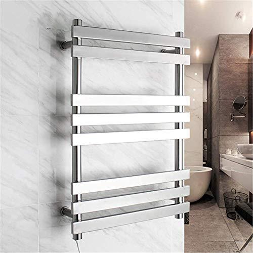 Mijogo Elektrische handdoekwarmer, aan de muur bevestigd, recht roestvrij staal 304, 8 stangen, gepolijst voor badkamerhanddoekwarmer en wasrek, verwarmde handdoekhouder