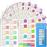 Larcenciel Kalender Stickers und Index Tabs, 5 Sätze Monatskalender Aufkleber und 1 Satz Etikette, Monatliche Registerkarten für Bullet Journal, Notizbuch, Schule Agenda