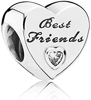 MiniJewelry Daughter Sister Best Friends Charm for Bracelets Engraved Heart Sterling Silver Charm for Women