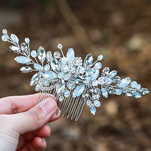 Simsly Hochzeit Haar Kämme Folien Kopfschmuck Braut Haarschmuck Blue Opal Dancing Prom für Braut und Brautjungfern (Silber)