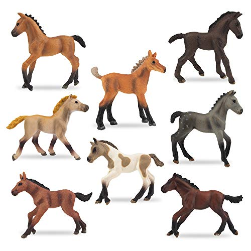 TOYMANY 8PCS 3-4' Horse Figurines Toy Set, Realistic Detailed Plastic Pony Figures Foal Animals Toy Playset, Cake Toppers Easter Eggs Christmas Birthday Gift Educational Toy for Kids Toddlers