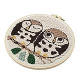 Hellery Cute Animal Owl Punch Kits De Agujas Aro Hilo Suave Hand Craft Set DIY Decoración para El Hogar