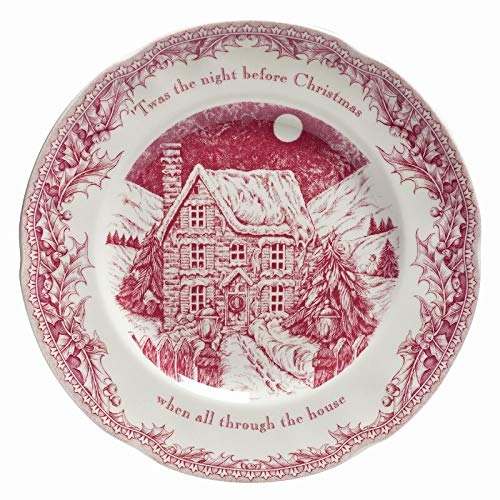 Johnson Brothers Twas the Night Dinner Plates, Set of 4, red and white