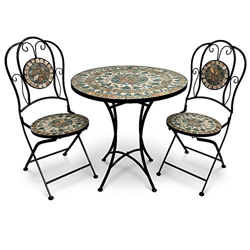 Deuba Conjunto de Muebles de jardín Malaga de Metal y Mosaico Set de1 Mesa y 2 sillas Plegables para terraza o balcón