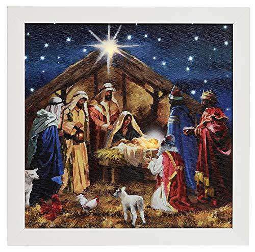 zeitzone LED Bild Krippe Jesus Maria Weihnachten Wandbild mit Touch Funktion 28x28cm