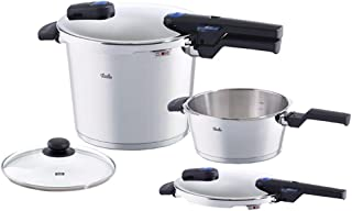 Fissler vitaquick / Pressure Cooker and fry pan Set, (8.4 Quart, 4.2 Quart), Stainless steel, Dishwasher Safe, Suitable for all types of stoves induction, gas, electric