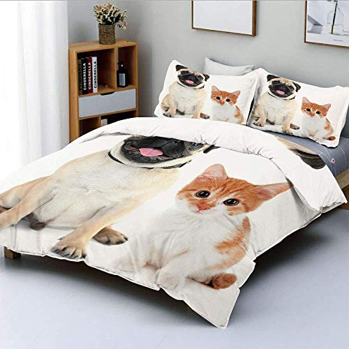 Juego de fundas nórdicas, fotografía adorable de gatitos y cachorros Divertidos animales lindos Mascotas jóvenes Happy ImageDecorative Juego de cama de 3 piezas con 2 fundas de almohada, Naranja Naran