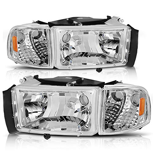 AUTOSAVER88 Headlight Assembly Compatible with 1994-2001 Dodge Ram 1500/1994 1995 1996 1997 1998 1999 2000 2001 2002 Dodge Ram Pickup 2500 3500 Black Housing Amber Reflector with Corner lights