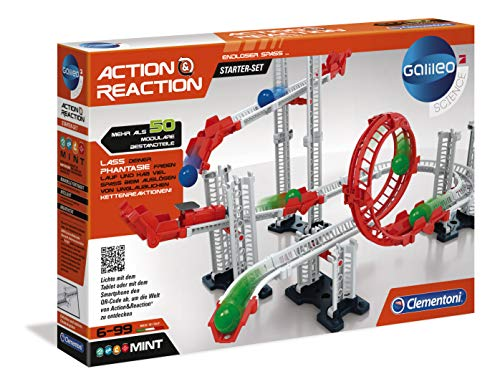 Clementoni 59150 Galileo Science – Action & Reaction Starter Set, Modellbausatz für eine Kugelbahn,...
