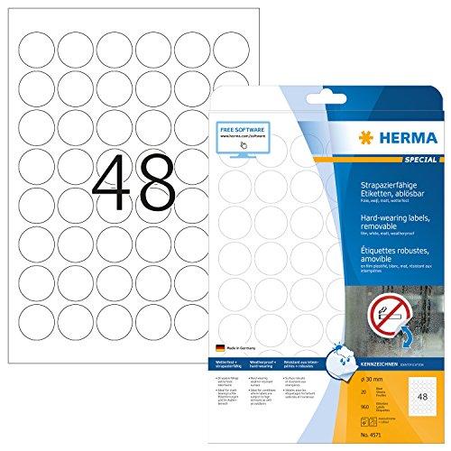 HERMA 4571 Wetterfeste Folien-Etiketten DIN A4 ablösbar (Ø 30 mm, 20 Blatt, Polyesterfolie, matt, rund) selbstklebend, bedruckbar, abziehbare und wieder haftende Klebefolie, 960 Klebeetiketten, weiß