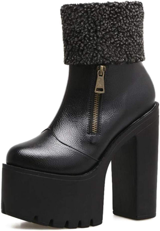 Shiney Women's High Heel Boots Classic Chunky Heel Platform Nightclub Artificial PU Autumn Winter
