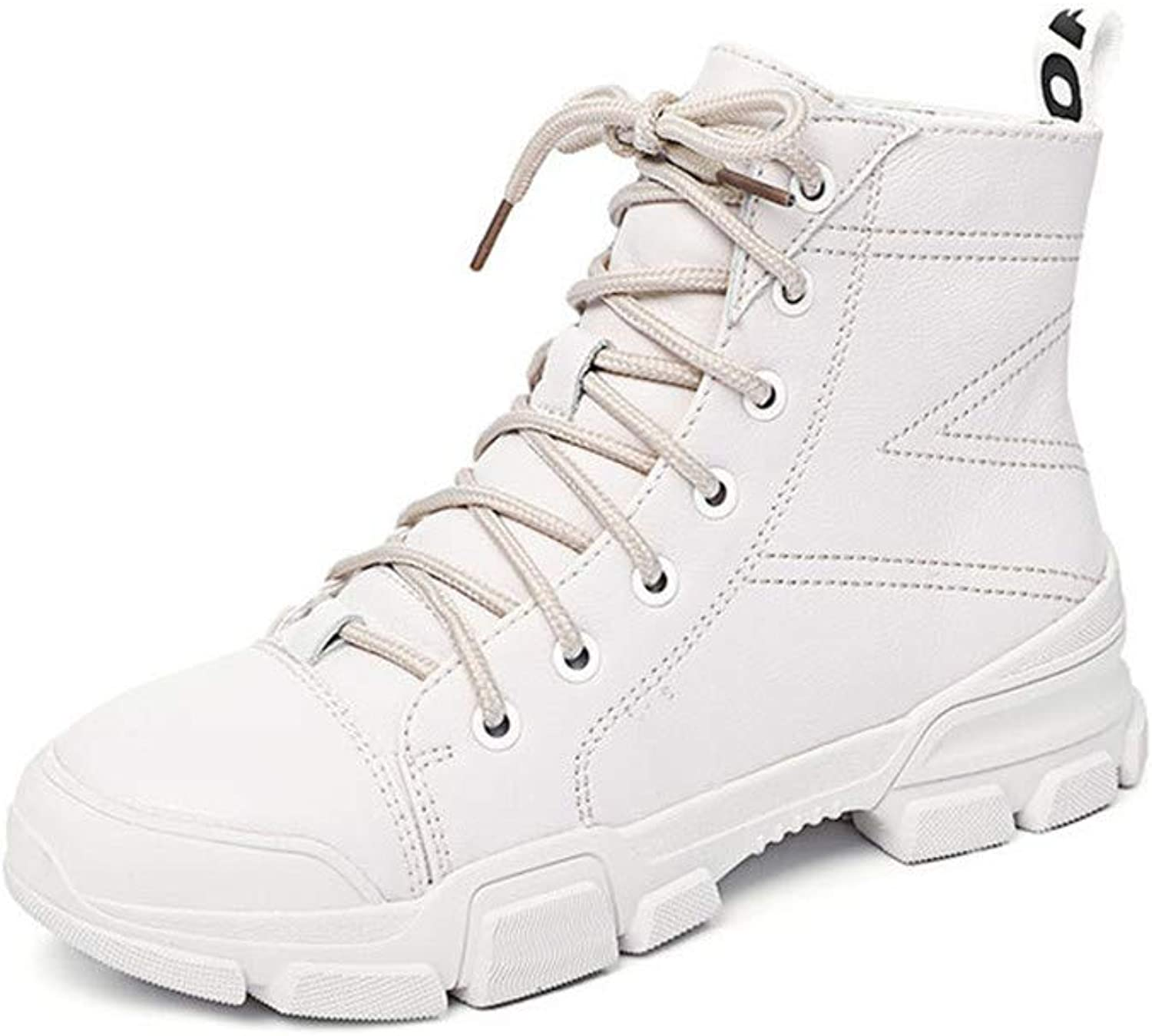 Womens Winter Lace Up Boots Ladies Martin Ankle Boot Work Hiking Trail Biker shoes (color   White)