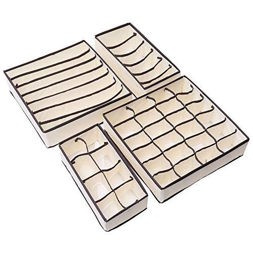 thematys Ordnungssystem Unterwäsche Schublade Aufbewahrungsboxen BHS Aufbewahrungstasche Organizer Organisation Kleideraufbewahrungssystem 4-teilig - Schrank- oder Schubladeneinlagen (Beige)