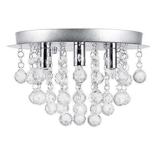 Lüster Deckenlampe - - Modernes Design: Kron-leuchter aus Chrom, Metall & Kunst-Kristall - Ø 28 cm Leuchte - 3 x G9 Sockel - für Wohnzimmer & Schlafzimmer