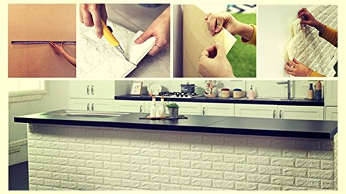 3D White Brick Tile Wallpaper, Waterproof Soundproof Self-adhesive Wall Sticker, Peel and Stick PE Foam Wall Paper Decor for Bedroom Living Room Background 31x27.6 Inch per Piece - 10 PC