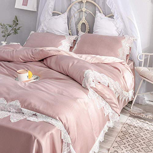 Siunwdiy Lace quilt cover ice silk four-piece silk bed linen bedding,single duvet cover,king size bedding set,brushed cotton fitted sheet,champagne,1.5 m