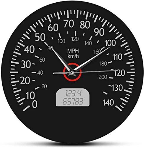 Reloj De Pared Velocímetro Kilómetros Y Millas Reloj De Pared Impreso Mecánica De Carreras Arte De Pared Negro Tablero De Instrumentos del Coche Reloj De Pared De Garaje Silencioso Fácil De Leer