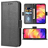 Phone Case for Xiaomi Redmi Note 7/7s/7Pro Folio Flip Wallet Case,PU Leather Credit Card Holder Slots Full Body Protection Kickstand Protective Phone Cover for Xiami Xiomis Xiome Redme Note7 Pro Black