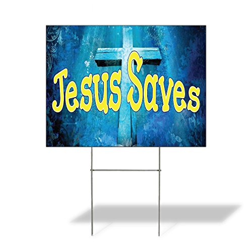 Plastic Weatherproof Yard Sign Cross Christian Jesus Saves Black for Sale Sign One Side 18inx12in