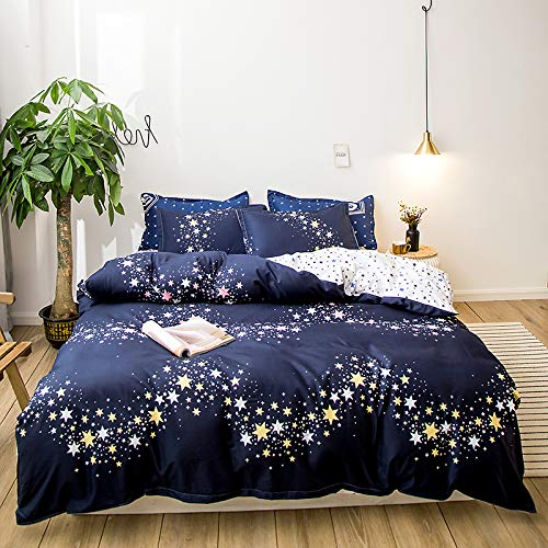 SSHHJ Funda Nórdica Azul Luna, Ropa De Cama De Lunares Azules, Cama A Juego De Color Verde Claro, Juego De 4 Piezas, Lavable