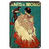 Anis Del Mono - Placa de estaño para vino, letreros de pared, letreros de advertencia para decoración del hogar, 20 x 30 cm