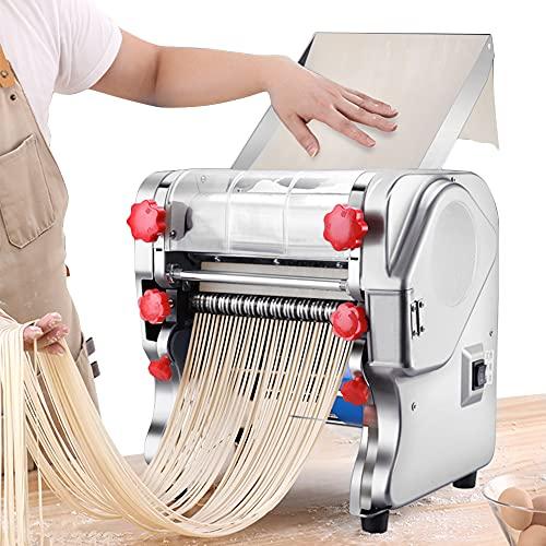 ZXMOTO Electric Pasta Maker 110V Stainless Steel Commercial Noodle Maker Pasta Roller Machine,Pasta Width 3mm/9mm,24cm Dough Knife
