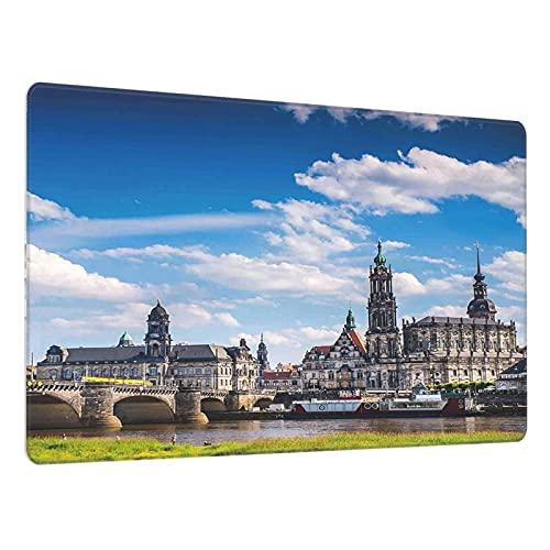 Multifunktions-Gaming-Mauspad,Stadt Dresden Altdeutsche Architektur Historisches europäisches Landschaftsbild,Großes Desktop-Mauspad 30X80CM für Computer,Gaming-Schreibtisch