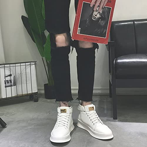 HL-PYL, botas altas botas botas Chunky Calzado casual.,44,blanco