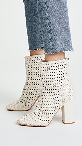 Dolce Vita Women's Scotch Woven Ankle Boots with Block Heel, Ivory, 10 B(M) US