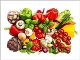 Poster 80 x 60 cm: frisches Gemüse und Kräuter auf Weiß