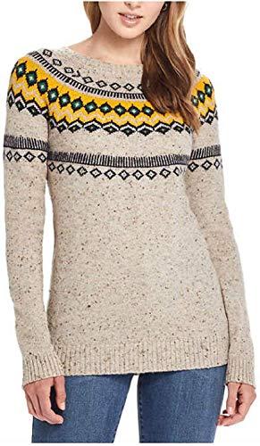 Weatherproof Vintage Ladies Fairisle Sweater (Oatmeal, Large)
