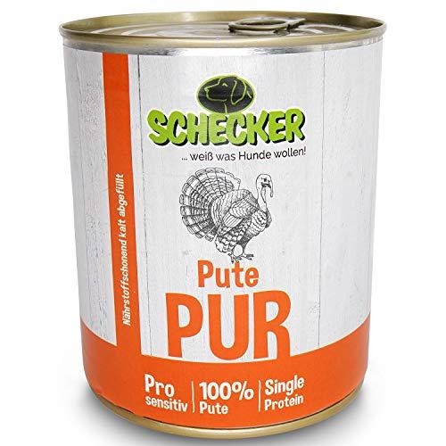 Schecker DOGREFORM Pute pur 24x 820g - 10 Verschiedene Sorten - Nassfutter - fettarmes Muskelfleisch - glutenfrei - 100% Frisch - frei von Konservierungsstoffen
