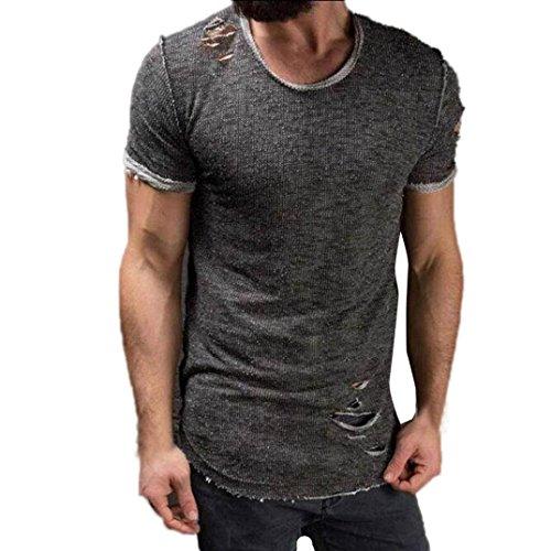 LuckyGirls Herren T-Shirt Kurzarm Männer Mode Loch Rundhals T-Shirts Casual Sport Shirt Sommer Top (Grau, EU-48/CN-M)