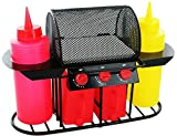 Invero® <span class='highlight'>Retro</span> Style Summer BBQ Grill Condiment Sauce Holder Salt & Pepper Shaker Set Includes Ketchup and Mustard Bottles and Relish Tray - Ideal for Garden BBQ's, Picnics and Parties