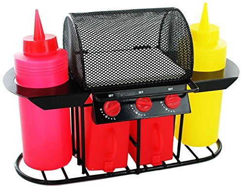 Invero Retro Style Summer BBQ Grill Condiment Sauce Holder Salt & Pepper Shaker Set Includes Ketchup and Mustard Bottles and Relish Tray - Ideal for Garden BBQ's, Picnics and Parties