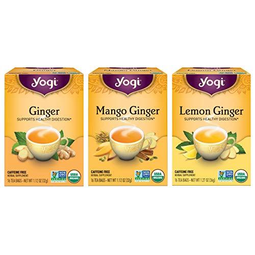 Yogi Tea - Ginger Tea Variety Pack Sampler (3 Pack) - Includes Ginger, Mango Ginger, and Lemon Ginger Teas - Supports Healthy Digestion - 48 Tea Bags