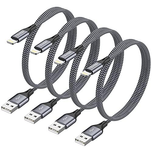 RAVIAD Cavo iPhone [1.2M 4 Pezzi] Cavo Lightning a USB Nylon Intrecciato iPhone Caricabatterie Compatibile con iPhone 11 X XS XS Max XR 8 8 Plus 7 7 Plus 6s 6s Plus 6 6 Plus 5c 5s 5