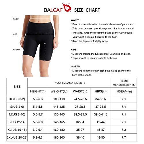 BALEAF Women's 7' Active Fitness Yoga Running Shorts Pocket Black Size S