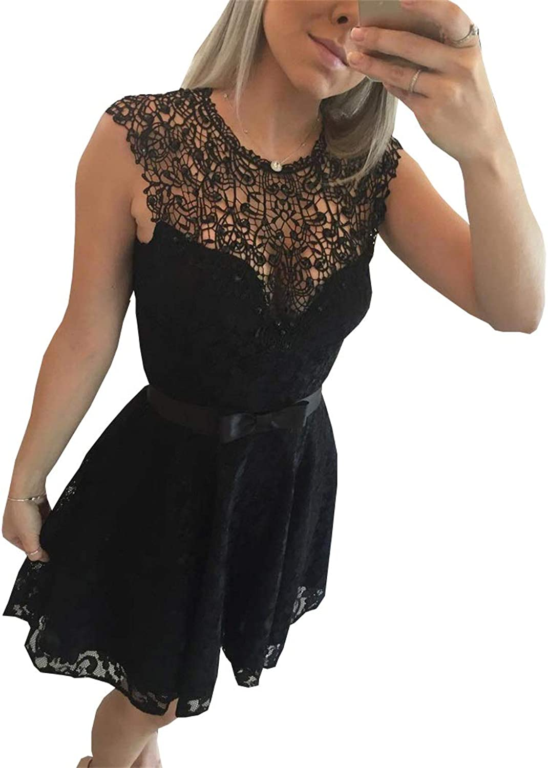 Ellystar 2017 Hot Black Short Homecoming Dresses A Line Jewel Lace Prom Gowns